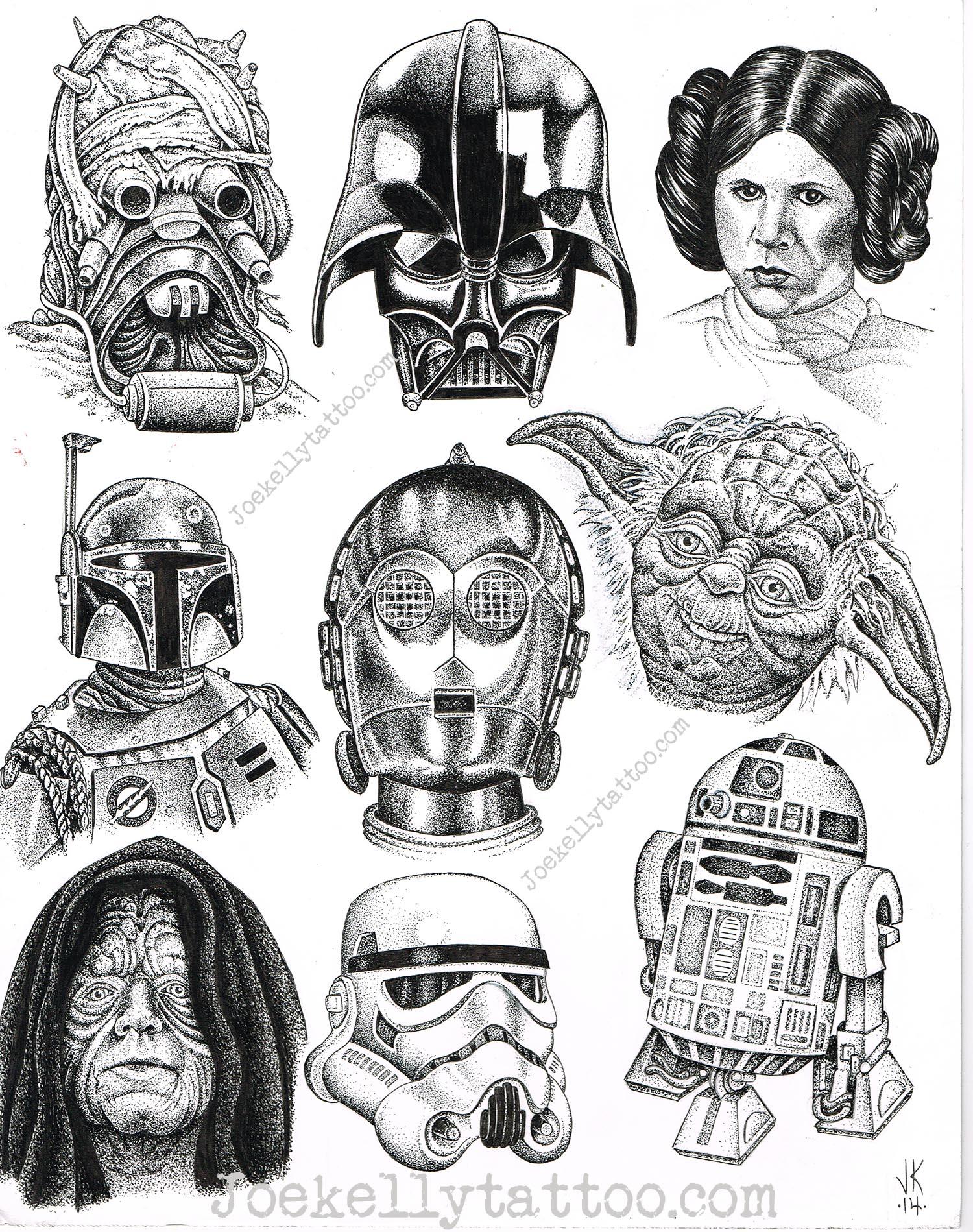 Joes Star Wars Flash Sheet Moth And Dagger Tattoo Studio